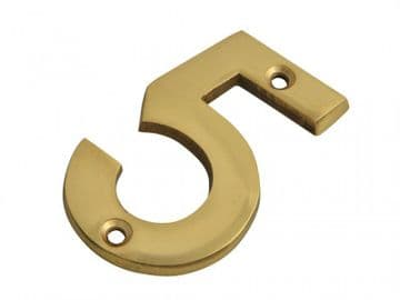 Numeral No.5 - Brass Finish 75mm (3in)